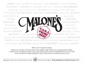 Malone's Menu